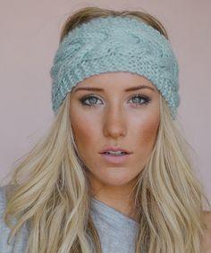 Mint Cable-Knit Headband