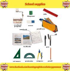 school suppliesvocabulary list - learning basic English