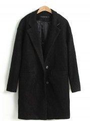 Ladylike Office Lapel Long Sleeve Blended  Overcoat