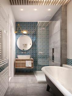 Design für ein  modernes Badezimmer mit tollen Fliesen