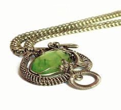 Collar de plata alemana con cadena de punto persa y prehnita