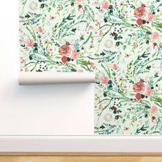 Wallpaper Roll Pink And White Roses Vintage Rose Garden Botanicals 24in x 27ft