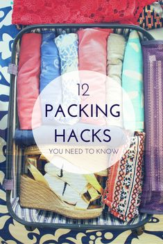 Here are 12 genius packing hacks to know before your trip. #Travelhacks