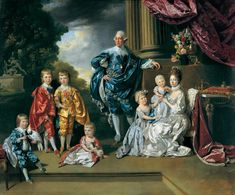 King George III and Queen Charlotte with six of their children.
