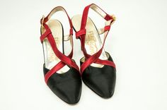 Very Glamorous Vintage Salvatore Ferragamo Black & Red Satin Slingback Heels with Beautiful Jeweled Buckle Closure. Made in Italy. SIZE: 8