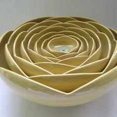 Ceramic Nesting Ranunculus Rose Flower Bowls Set by whitneysmith, $450.00