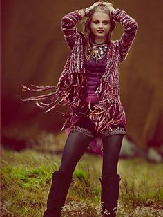 Free People Short Fringe Cardigan