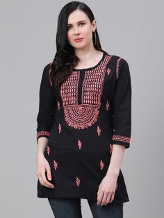 Ada Hand Embroidered Black Cotton Lucknow Chikan Kurti-A911112 has a straight long finish along with straight hems #Ada #Adachikan #handcrafted #chikankari #handembroidered #shoponline