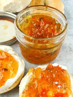 Christmas in July Pepper Jam – This jam is AMAZING. On a toasted bagel with some cream cheese and a spoonful of jam…delish! Pepper Jelly Recipes, Red Pepper Jelly, Jam Recipes, Canning Recipes, Preserving Recipe, Canning 101, Tuna Recipes, Delicious Recipes, Jalapeno Jam