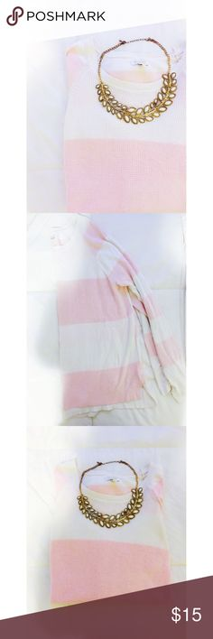 Striped Pullover 🎀 Striped white and light pink pullover Sonoma Tops Tees - Long Sleeve