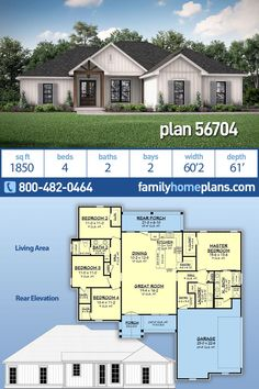 This contemporary farmhouse home offers four bedrooms, two baths with a private master suite including a spacious master closet. Volume ceilings throughout the main living areas create impressive spac 4 Bedroom House Plans, Family House Plans, New House Plans, Dream House Plans, Small House Plans, Dream Houses, 2200 Sq Ft House Plans, One Level House Plans, House Plans One Story