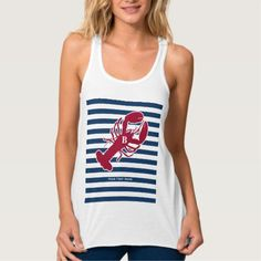 Nautical Red Lobster Monogram Blue White Stripe Tank Top