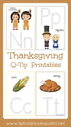 Thanksgiving Q-Tip Printables are great for working on fine motor skills with children. Great for Tot School, Preschool and Kindergarten. Free printable activities for kids! Thanksgiving Activities For Kids, Fall Preschool, Preschool Learning, Thanksgiving Crafts, Preschool Kindergarten, Preschool Activities, Early Learning, Q Tip Painting, Painting Letters