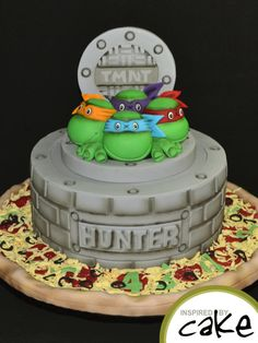 Creating Birthday cakes for kids is always so much fun, I LOVE getting carried away with the details! This is the cake I have made for little Hunter and seeing his excited face is so worth it! The TMNT topper was inspired by the amazingly. Ninja Cake, Tmnt Cake, Pretty Cakes, Cute Cakes, Bithday Cake, Superhero Cake, Character Cakes, Occasion Cakes, Creative Cakes