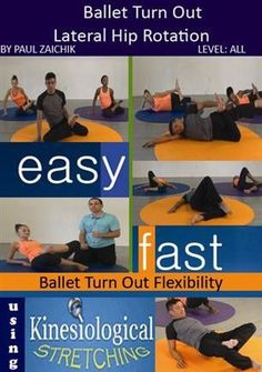 Ballet turn out requires flexibility in the internal rotators of the hip. ​The routine is designed to safely and comfortably increase the turnout range. Dance Class, Dance Studio, Dance Teacher, Qi Gong, Ballet Turns, Dancer Stretches, Chakra, Dance Technique, Dance Tips