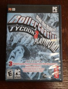RollerCoaster Tycoon 3 Platinum + Box PC\CD Includes Exp Packs Soaked! and Wild!