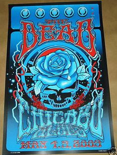 Original concert poster for The Dead in Chicago, IL at The Allstate Arena in 2009. 4 color screen print, 16 x 26 inches. Signed by artist  Richard Biffle.