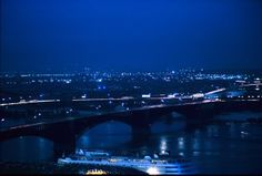 Night view of Steamer Admiral and Eads Bridge. 4 July 1965.