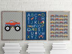 Monster truck prints, ABC for boys, package offer, printable, immediate download by ThatLittleDude on Etsy https://www.etsy.com/listing/247687907/monster-truck-prints-abc-for-boys