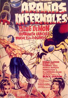 Lucha Libre - Cartel de Cine - Blue Demon - Arañas Infernales