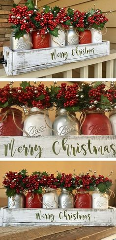 Mason Jar Christmas Centerpiece christmas decor by alyson nostalgic christmas decorations, christmas decor diy table, christmas diy decorations outdoor Centerpiece Christmas, Diy Christmas Decorations, Christmas Jars, Christmas Projects, Winter Christmas, Holiday Crafts, Christmas Wreaths, Merry Christmas, Centerpiece Ideas
