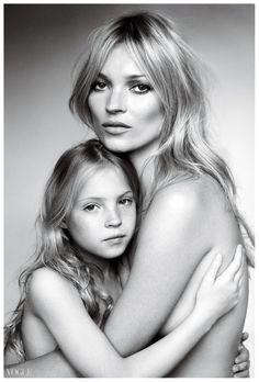 Kate Moss and her daughter Lila Grace by Mario Testino