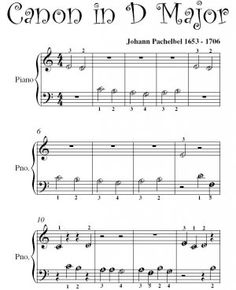 beginners piano sheet music | Canon in D Pachelbel Beginner Piano Sheet Music PDF
