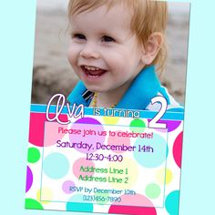 Girly Polka Dot Birthday Invitation - With Photo - Printable - 5x7 by GoodHueDesigns