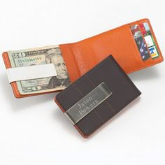 Personalized Leather Money Clip Wallet by Beau-coup #groommengifts