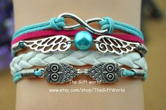 Owls Silver Infinity bracelet  charm bracelet  by TheGiftWorld, $4.50 Hand-crafted bracelet fashion personality,best friendship gift.