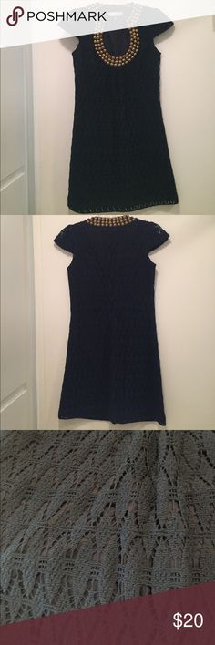 Trina Turk Navy Crochet Dress!! Stunning Trina Turk navy crochet dress with gold beads along the neckline. In great condition. Perfect for wedding season!! Trina Turk Dresses