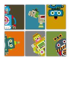 "Nursery Art for Boys, Robots Art Prints 8X10"" set of (6) Six prints, cute for a little Techno Boys Room, nursery, or Playroom."