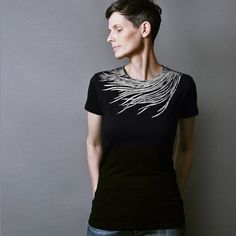 Peacock T shirt for Women - Fashion T shirt with Silver Metallic Feather Print - Womens Tshirt