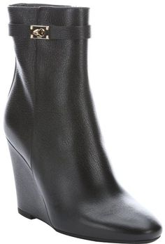 $950, Fendi Black Leather Wedge Ankle Boots. Sold by Bluefly. Click for more info: https://lookastic.com/women/shop_items/160157/redirect