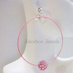 Clip on or Pierced 2.5 inch PINK Rhinestone Ball Handmade Hoop Big Earrings V383 #Handmade #Hoop