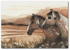 Mustang Horses War Paint Curly Native American Feathers ArT -  8.5 x 11 Print by AmyLyn Bihrle. $20.00, via Etsy.