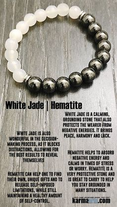 White #Jade is a calming, grounding stone that also protects the wearer from negative energies. It brings peace, #harmony and #luck. #Hematite  #Love #Beaded #Bracelet #Yoga #Chakra #Mala #Stretch #Meditation #handmade #Jewelry #Energy #Healing #Crystals #Stacks #pulseiras #Bijoux #Handmade #Reiki #Mala #Buddhist #Charm #Mens #Womens….#