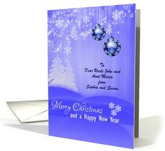 Merry Christmas Greetings - Ornamental Blue Balls and snow flakes card