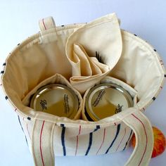Jars to Go Bag - blue and red stripe mason jar lunch tote. $27.00, via Etsy. Perfect!!