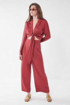 Urban Outfitters Uo Satin Paisley Wide-Leg Pant - Red S Tailored Jumpsuit, Romper Suit, Paisley Tie, Front Tie Top, Red S, Wide Leg Pants, Urban Outfitters, Fitness Models, Satin