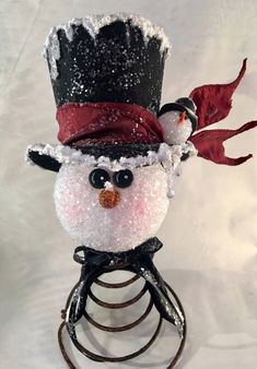 Your place to buy and sell all things handmade Christmas Ornaments To Make, Christmas Snowman, Christmas Holidays, Christmas Decorations, Snow Crafts, Tree Crafts, Holiday Crafts, Bed Spring Crafts, Spring Projects