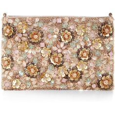 1cf7b2fe8ae5 Monsoon Sinai Embellished Floral Pouch Bag (£55) ❤ liked on Polyvore  featuring bags