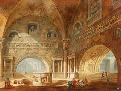 hadrian6:  Interior of a Roman building with figures carrying a body. Charles Louis Clerisseau. French. 1721-1820. gouache /paper. http://hadrian6.tumblr.com
