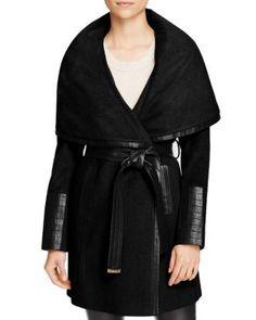 Via Spiga Belted Faux Leather Trim Coat | Bloomingdale's