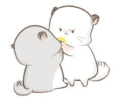 LINE Official Stickers - Super soft Simao and Bamao Example with GIF Animation Cute Couple Comics, Cute Couple Cartoon, Cute Love Cartoons, Cute Love Pictures, Cute Love Gif, Cute Images, Cute Animal Drawings Kawaii, Cute Kawaii Animals, Cute Drawings