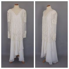 57c6133b955 Plus Size Large Vintage 1980s Abstract Art Beaded Dress White Beaded Dress  Vegas Bride Wedding Gown Great Gatsby Flapper 1930s Art Deco Gown