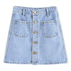 DOTFASHION CASUAL DENIM SKIRT SOLID BLUE BUTTON FRONT DUAL POCKET... (175 NOK) ❤ liked on Polyvore featuring skirts, mini skirts, bottoms, saias, denim skirt, button front skirt, blue skirt, a line skirt and button front denim skirt