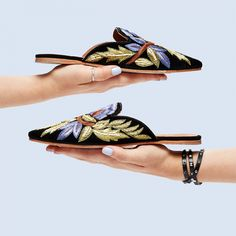 embroidered mule by Jeffrey Campbell. varada in black.