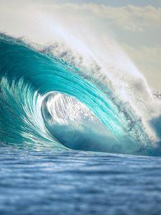 Blue waves in Tahiti.