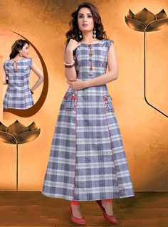 Precise splendor can come out from your dressing style and design with this Exquisite Applique Gray Color Flax Cotton Party Wear Ready Made Kurtis For Girl Churidar Designs, Kurta Designs Women, New Kurti Designs, Dress Neck Designs, Blouse Designs, Frock Fashion, Fashion Dresses, Girl Fashion, Kalamkari Dresses
